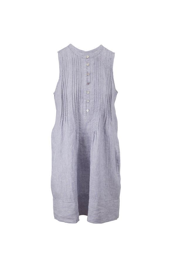 Faherty Brand Isha Blue Mini Stripe Linen Sleeveless Dress