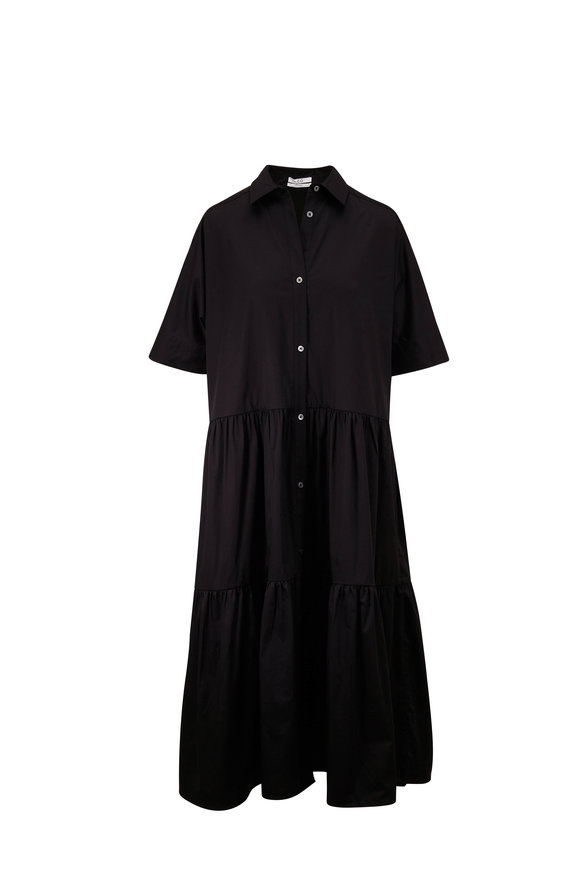 CO Collection Black Cotton Elbow Sleeve Tiered Dress
