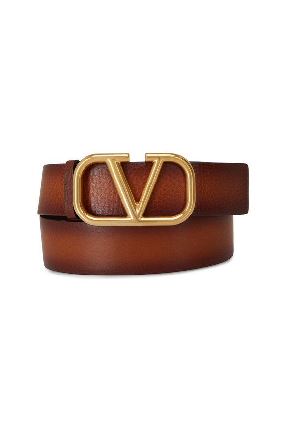 Valentino Garavani Tan Buffered Leather V Logo Belt