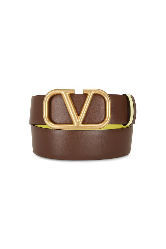 Valentino Garavani VLogo Brown & Lime Reversible Belt
