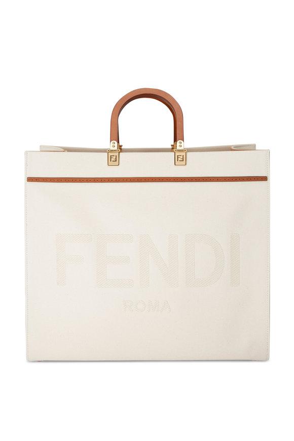 Fendi Sunshine White Canvas Large Logo Tote