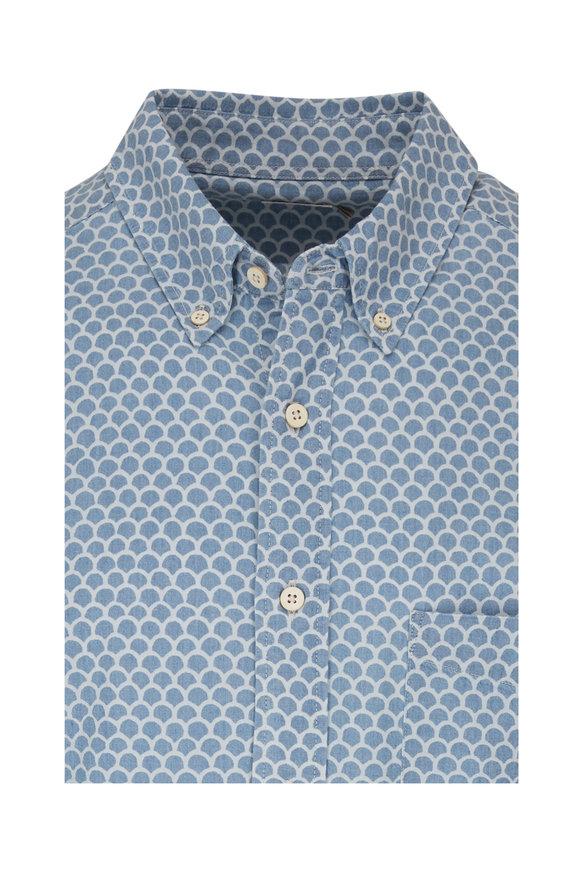 Faherty Brand Playa Light Blue Fish Scale Short Sleeve Shirt