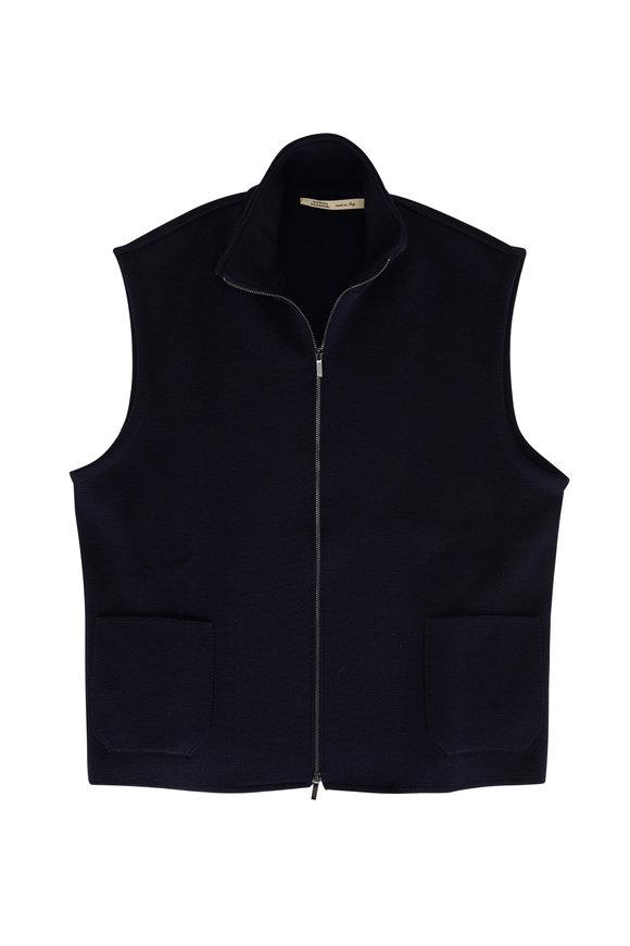 Maurizio Baldassari Navy Wool Knit Zip Front Vest
