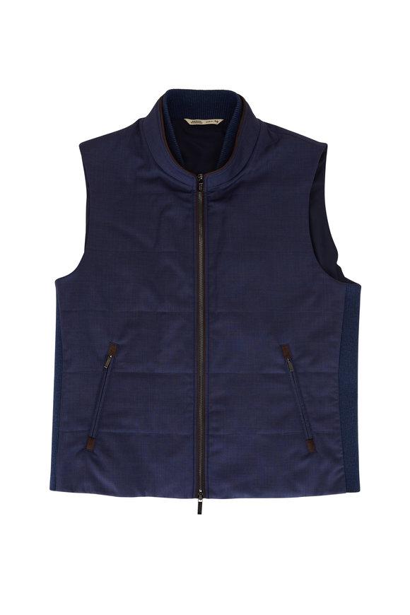Maurizio Baldassari Navy Quilted Wool Vest