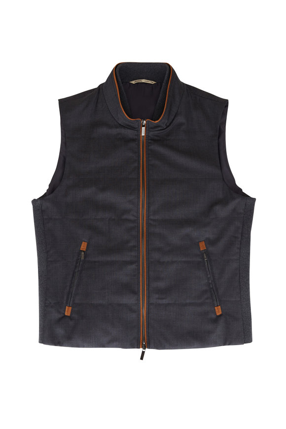Maurizio Baldassari Charcoal Gray Quilted Wool Vest
