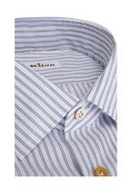 Kiton - Blue & White Striped Sport Shirt