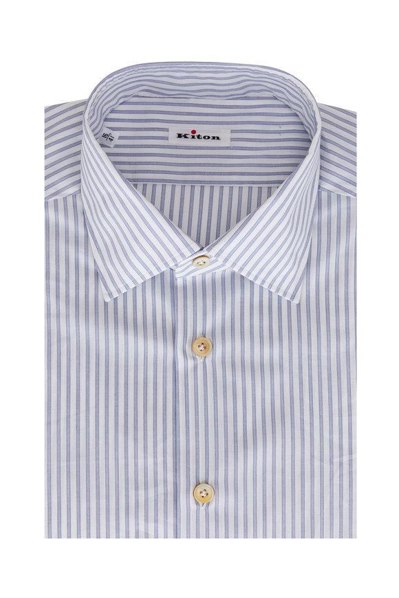Kiton Blue & White Striped Sport Shirt