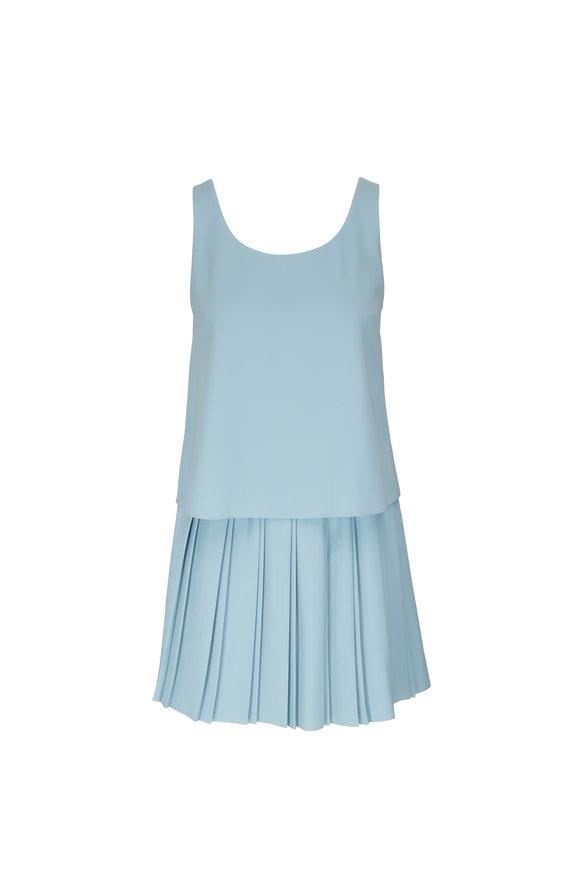 Emporio Armani Seafoam Knife Pleated Sleeveless Dress