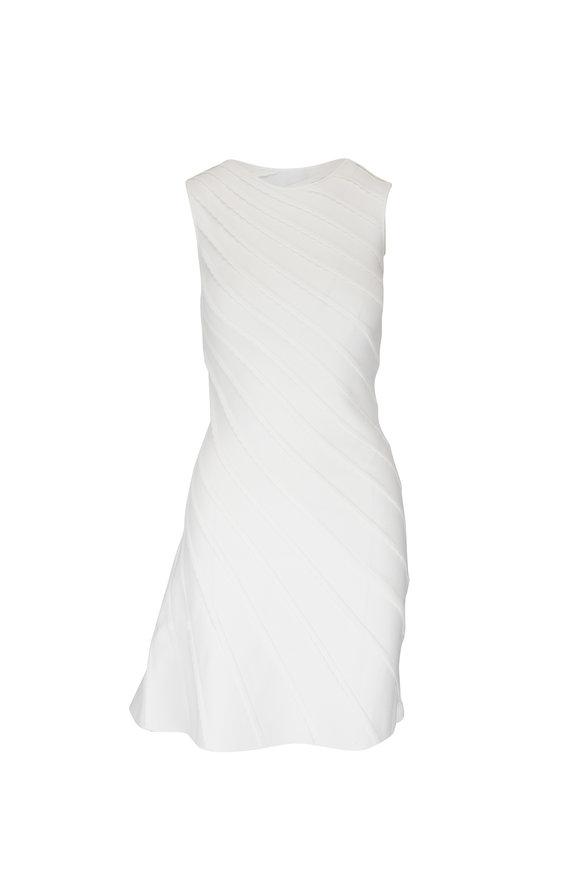 Emporio Armani White Asymmetric Knit Sleeveless Dress