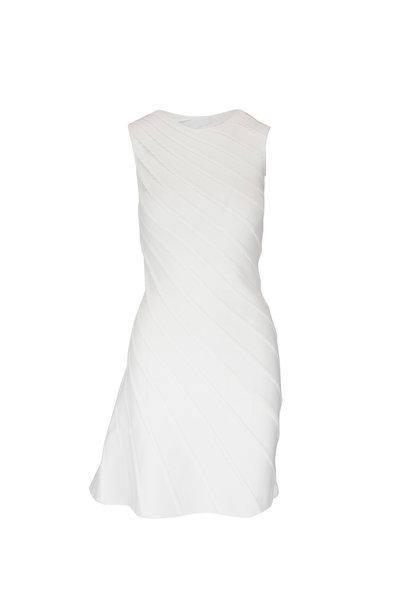 Emporio Armani - White Asymmetric Knit Sleeveless Dress