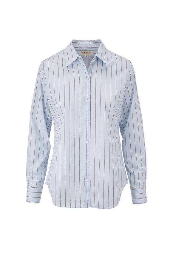 Nili Lotan Libby Blue Stripe Shirt