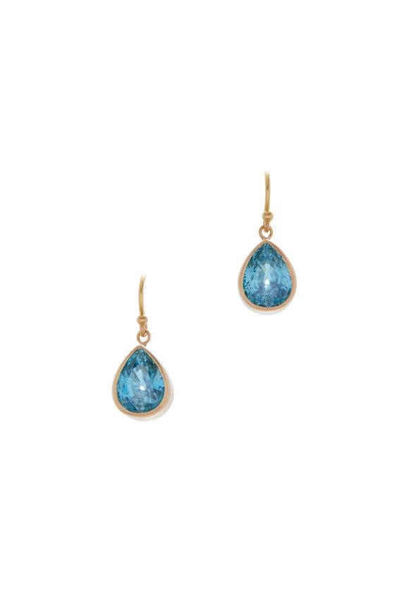 Caroline Ellen Yellow Gold Blue Zircon Earrings