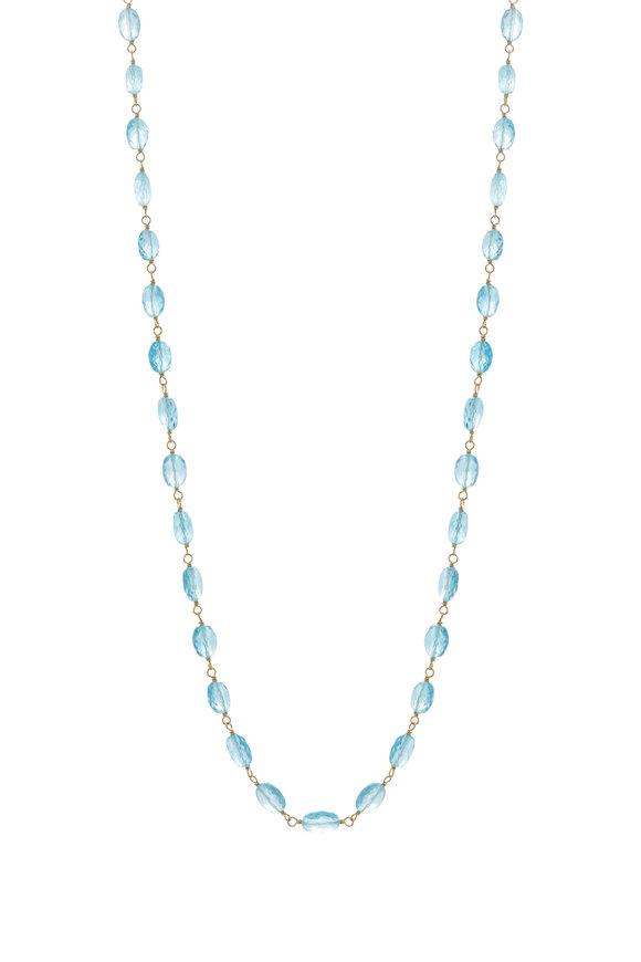 Caroline Ellen 20K Yellow Gold Apatite Bead Wrap Necklace