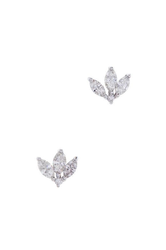 Kai Linz 18K White Gold Diamond Fan Earrings