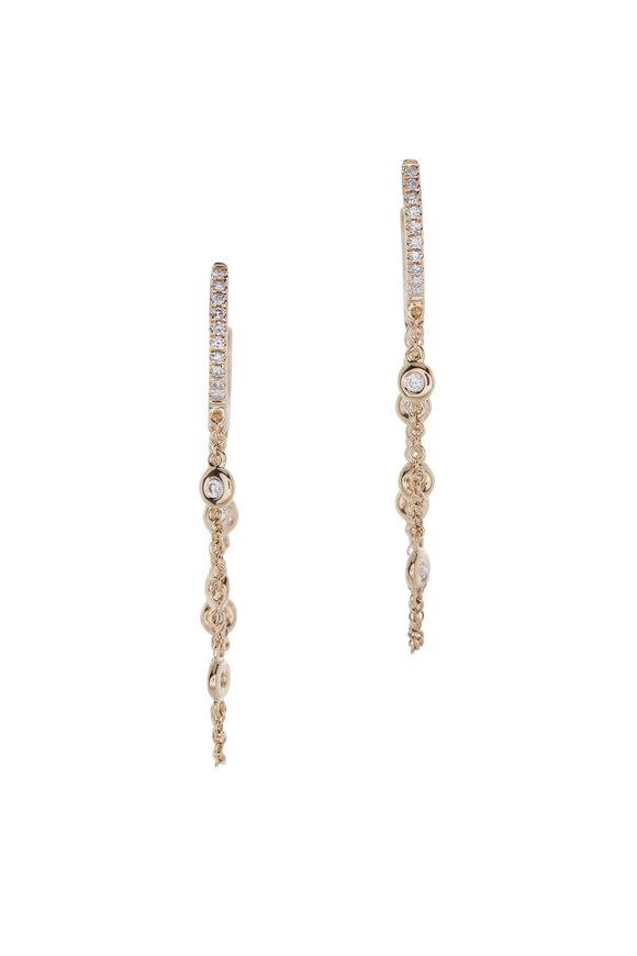 Kai Linz Yellow Gold Diamond Chain Earrings