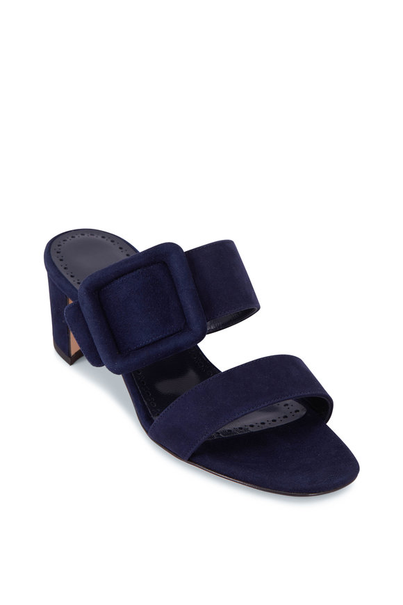 Manolo Blahnik Titubanew Navy Suede Buckle Band Mule, 50mm