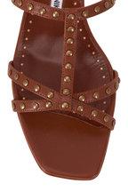 Manolo Blahnik - Luce Brown Leather T-Strap Sandal, 50mm