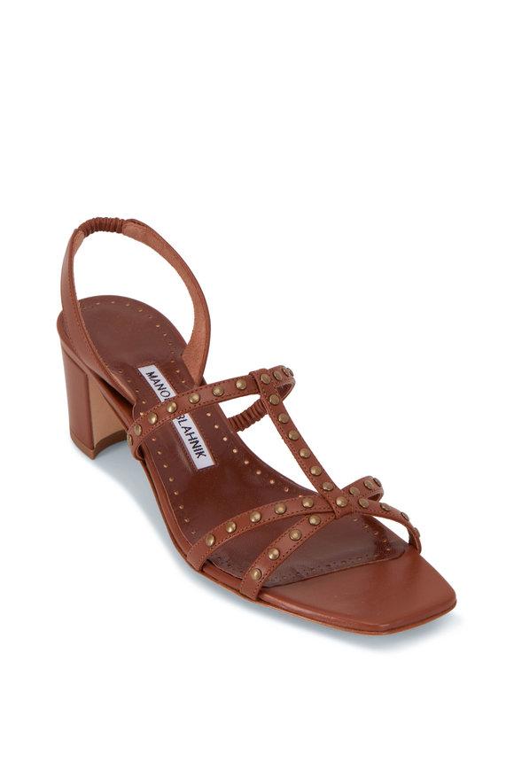 Manolo Blahnik Luce Brown Leather T-Strap Sandal, 50mm