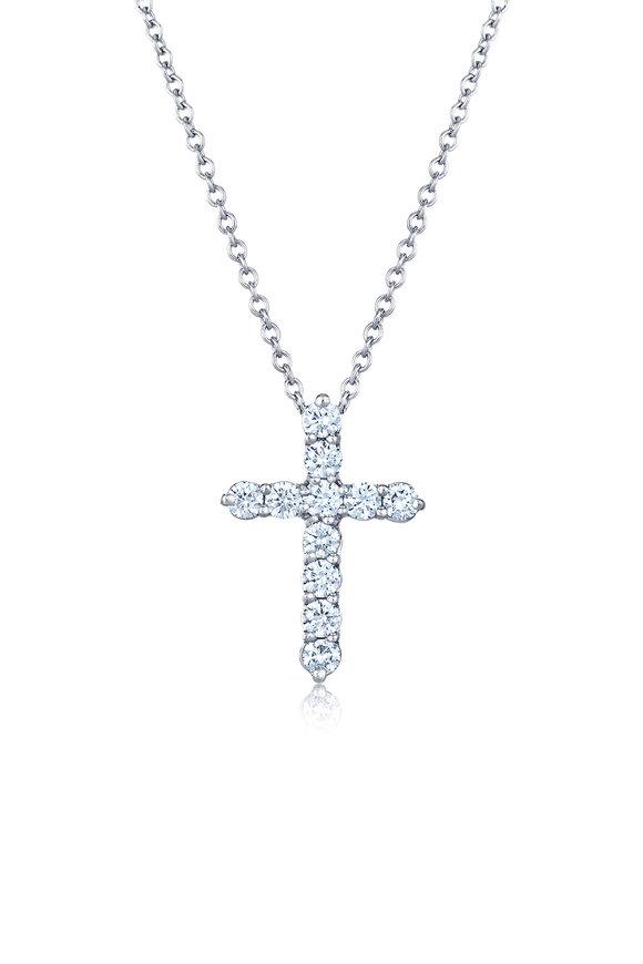 Kwiat White Gold Diamond Cross Pendant Necklace