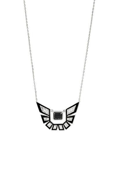 Stephen Webster - Black Enamel & Diamond Shatter Pendant Necklace