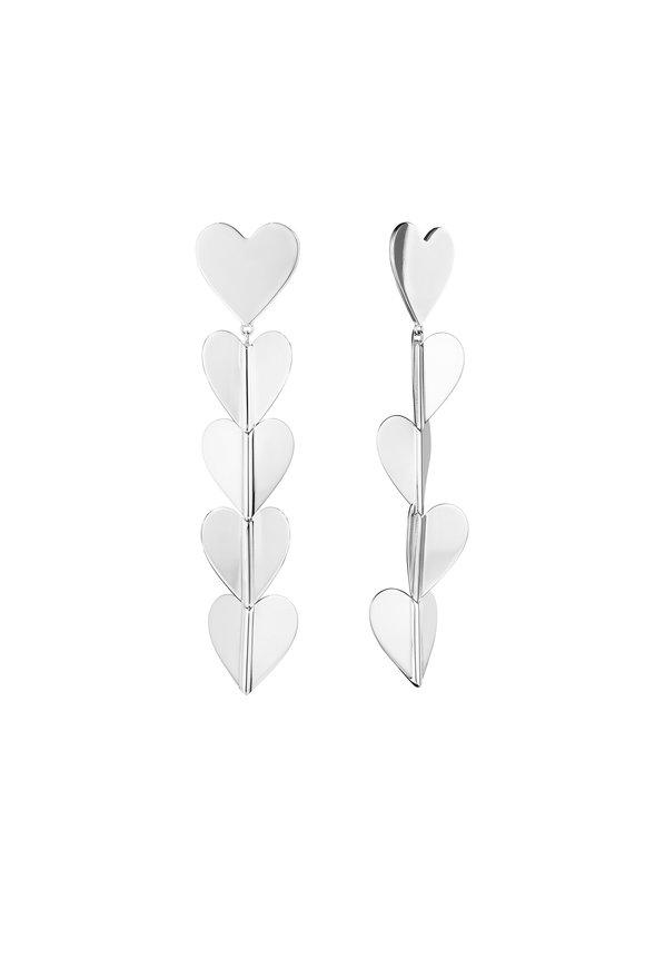 Cadar White Gold Wings Of Love Heart Drop Earrings