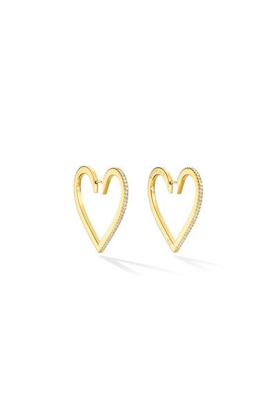 Cadar - Endless White Diamond Heart Hoops
