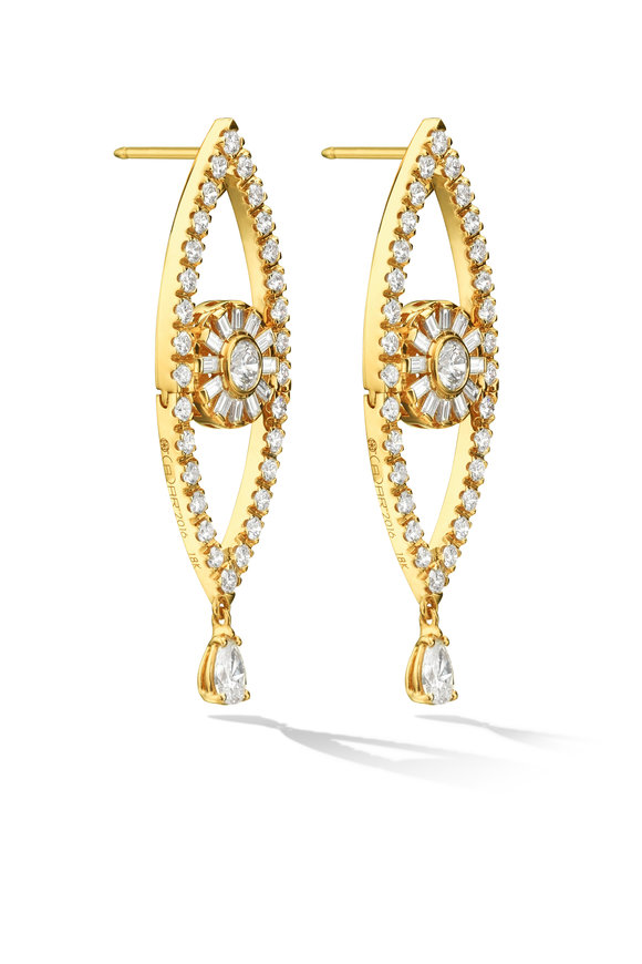 Cadar Yellow Gold Diamond Reflections Drop Earrings
