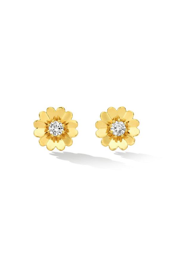 Cadar Yellow Gold Endless Diamond Flower Stud Earrings