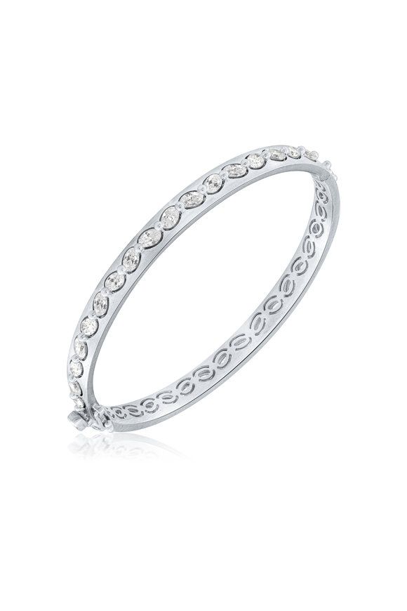 Sutra White Gold Full Cut Diamond Bangle