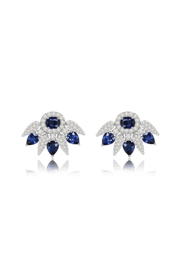 Sutra White Gold Sapphire & Diamond Cluster Earrings