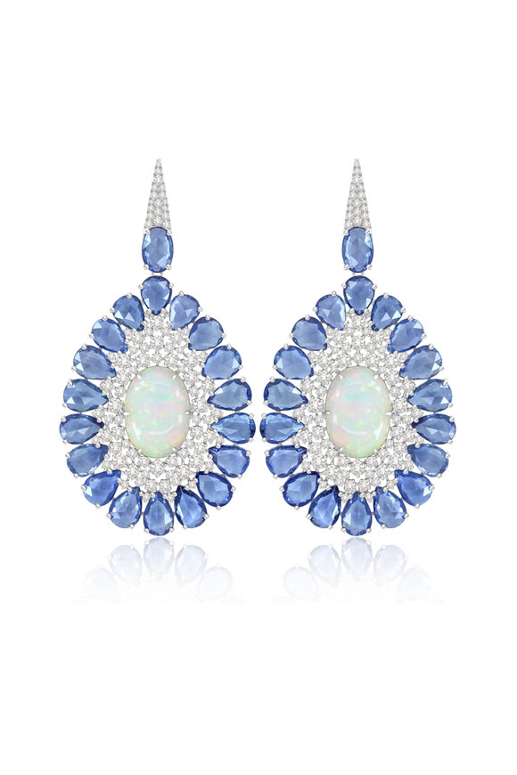 Sutra Sapphire, White Opal & Diamond Dangle Earrings