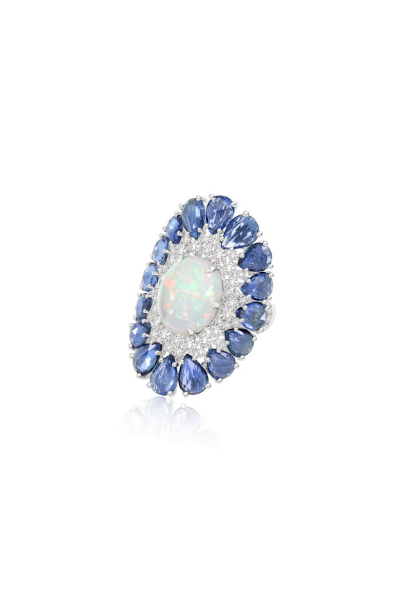 Sutra White Gold Blue Sapphire & White Opal Ring