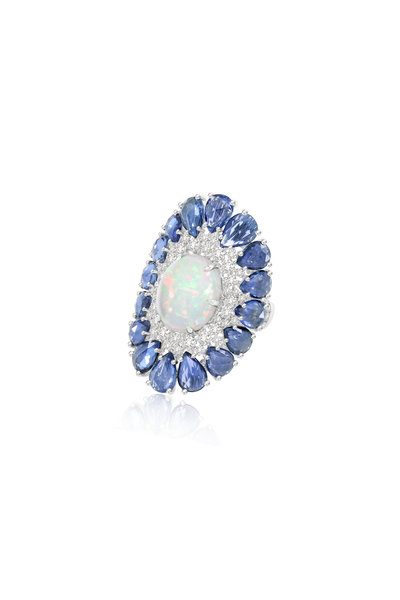 Sutra - White Gold Blue Sapphire & White Opal Ring