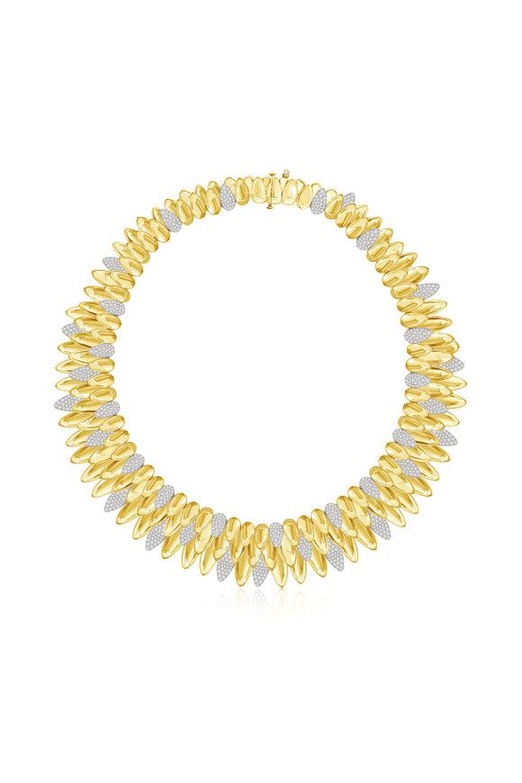 Sutra Yellow & White Gold Kashmir Diamond Collar