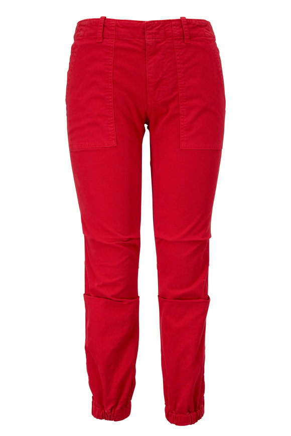 Nili Lotan Sunfaded Red Cropped Military Pant