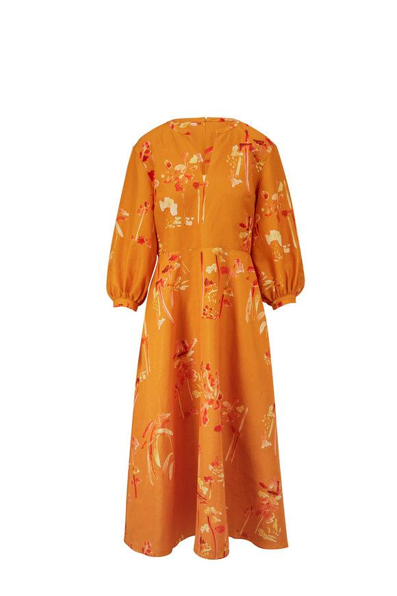 Lafayette 148 New York Leona Tuscan Orange Three-Quarter Sleeve Dress