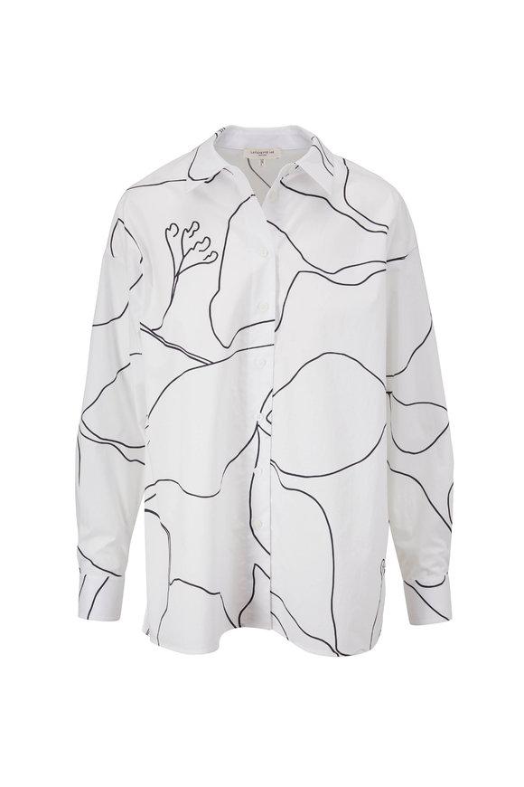 Lafayette 148 New York Elise White Winding Leaf Print Shirt