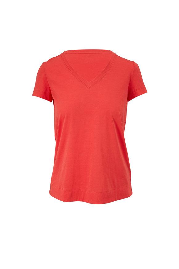 Lafayette 148 New York Modern Vibrant Persimmon Cotton Jersey T-Shirt