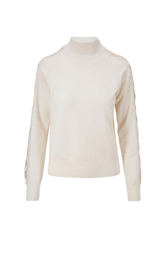 Lela Rose White Sheer Sleeve Turtleneck Sweater