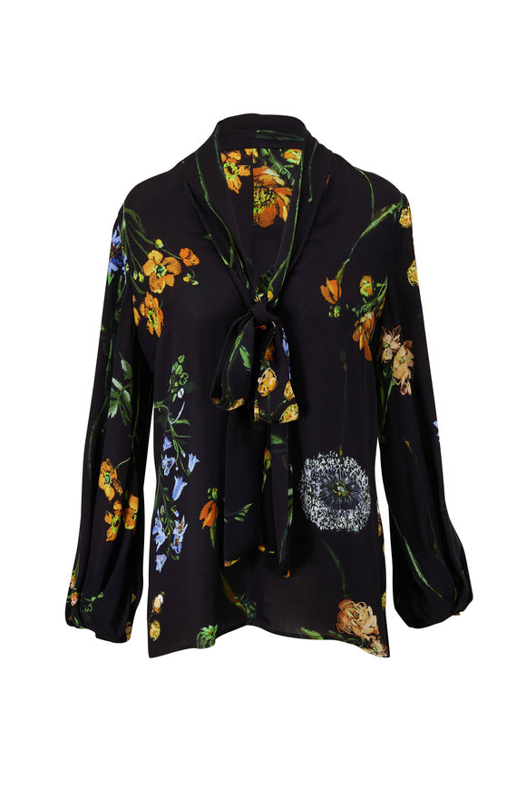 Lela Rose Black Floral Bow Blouse