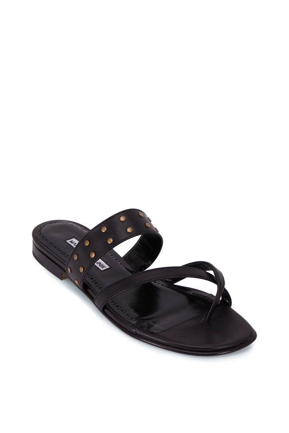 Manolo Blahnik Buza Black Studded Flat Thong Sandal