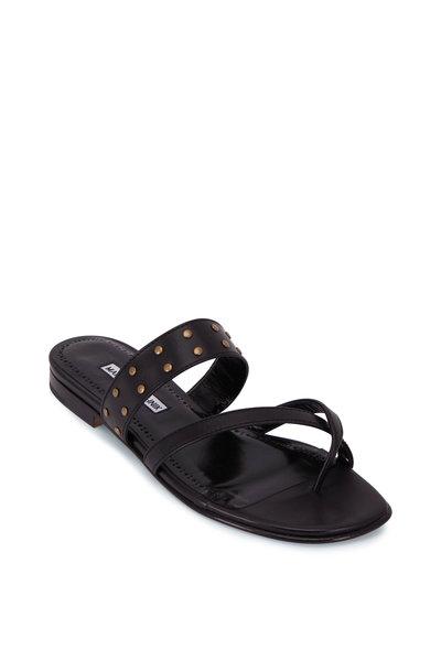 Manolo Blahnik - Buza Black Studded Flat Thong Sandal