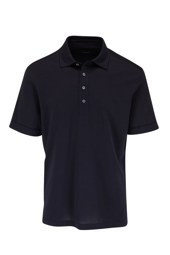 Ermenegildo Zegna Navy Short Sleeve Polo