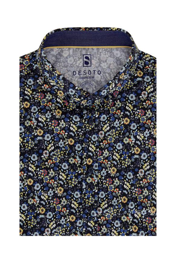 Desoto Dark Navy Print Jersey Short Sleeve Sport Shirt
