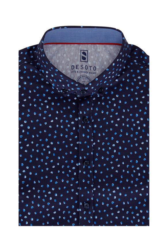 Desoto Navy & Blue Jersey Short Sleeve Sport Shirt