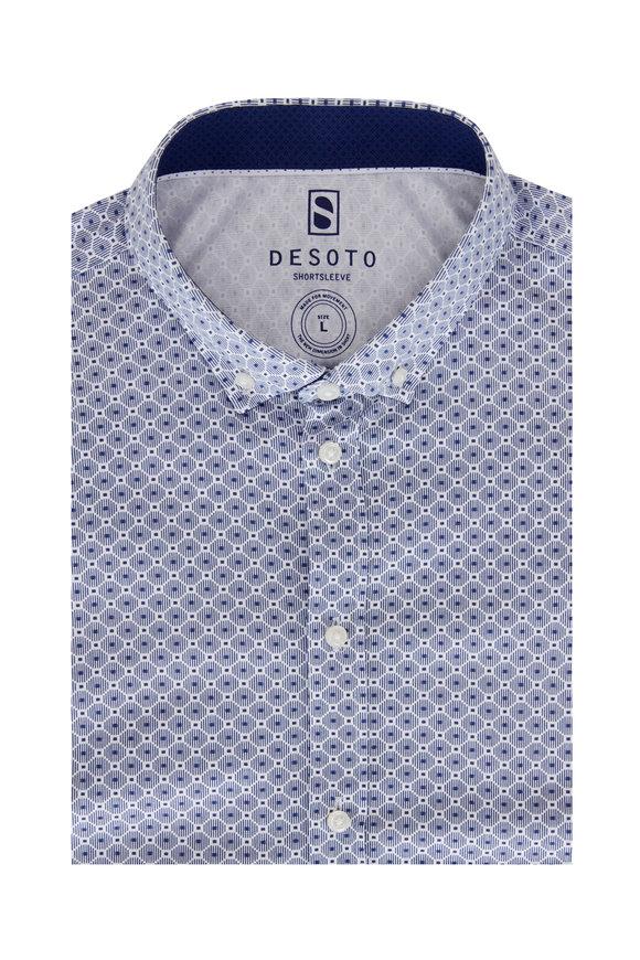 Desoto Blue Geometric Jersey Short Sleeve Sport Shirt
