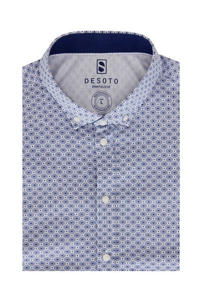 Desoto - Blue Geometric Jersey Short Sleeve Sport Shirt
