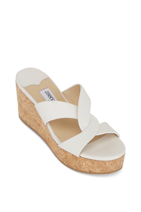 Jimmy Choo Atia Latte Leather Cork Wedge Slide Sandal, 75mm
