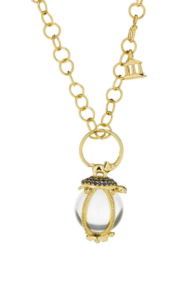 Cosmic Turtle Crystal Gold Amulet