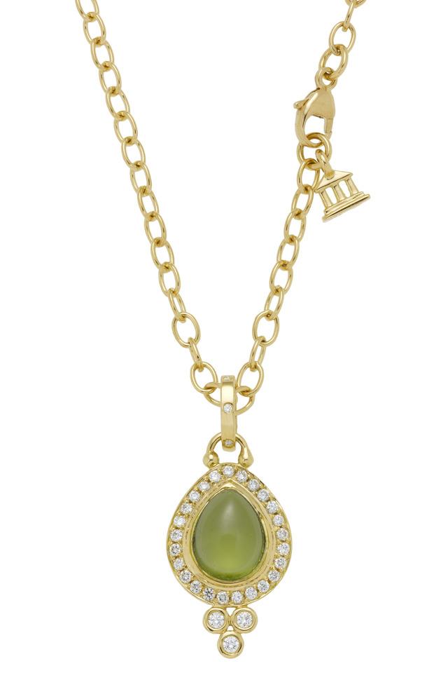 Yellow Gold Peridot Diamond Drop Pendant